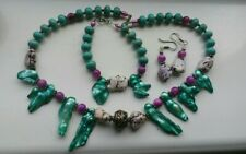 Fabulous Turquoise Cultured Blister Pearl Silver Necklace