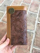 Coffee Western Vegan Leather Men's Long wallet Vintage floral tooling 12 Gauge