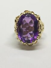 14k Yellow Gold 9 Ct Amethyst Ring Size 6