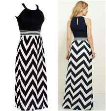 Womens Striped Strap Maxi Dress Ladies Long Evening Dress UK Size 8 12 14 16 24
