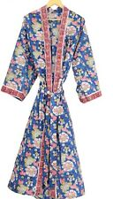 Women's Kimono Robe Long Nightgown, Summer Comfortable Kimono Cotton Hand-block