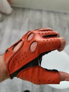 Fingerless Napa Leather Gloves Half Finger for Driving and Cycling