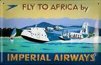 Imperial Airways Africa Panneau Métallique Plaque 3D en Relief Étain Signer 20 X