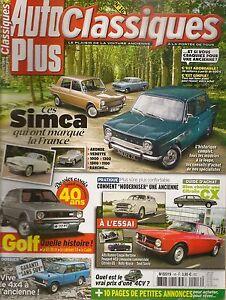 AUTO PLUS CLASSIQUES 16 SIMCA 1951 1983 VW GOLF GTI GLi CADDY 403 SEAT 600 SAVIO