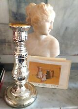 ANTIQUE MERCURY GLASS CANDLESTICK WITH WHITE LEAF MOTIF