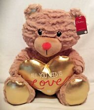 "All You Need is Love Teddy Bear-Holding CUORE D'ORO - 13"" - Peluche Valentine NUOVO"