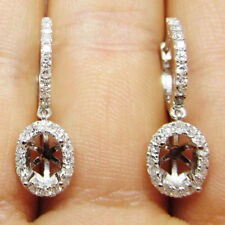 4x6mm Oval Cut Solid 14kt White Gold Natural Diamond Semi Mount Fashion Earrings