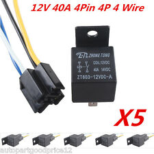 5Pack Car Truck Auto 12V 40A 40 AMP SPST Premium Relay & Socket 4 Pin 4P 4 Wire