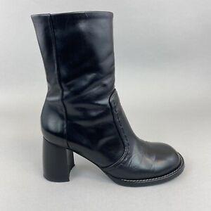 JOSEPH Black Leather Ankle Zip Up Block Boho Heels Booties Boots Size 37.5 UK4.5