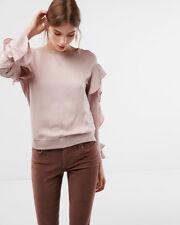 nwt express sateen ruffle long  sleeve pink 09784794 xs top blouse shirt