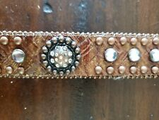 Girls 26 Brown Leather Belt Rhinestone Cowgirl Rodeo Western Country