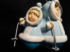 LITTLE ESKIMO GIRL SKIERS CHRISMAS ORNAMENT!  ZZ671UXX