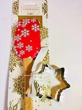 Red White Xmas Snowflakes Silicone Spatula + Metal Cookie Cutter Baking Kitchen