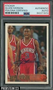 Allen Iverson 76ers Signed 1996-97 Topps #171 RC Rookie HOF PSA PSA/DNA AUTO