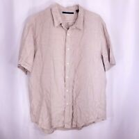 Perry Ellis Mens Short Sleeve Linen Button Front Shirt Beige Size XXL