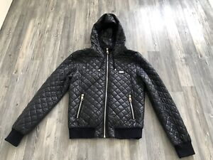 Dolce Gabbana Plate Quilted Jacke Hoodie Hooded D&G Owens Jacket Anthrazit/Navy