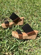 Crown Vintage Double Trouble Woven, Leather & Cork Wedge Slip On Sandals 8.5 EUC