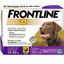 FRONTLINE GOLD for Dogs 45-88 Lbs 3 PACK, EPA Approved, FREE SHIPPING !!!