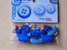 DRESS IT UP BUTTONS - CRAFTS/CARDMAKING - AHOY BABY - 11 PIECES