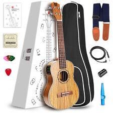 "Vangoa 23"" Concert Zebra Electric Acoustic Ukulele Hawaiian Guitar From US"