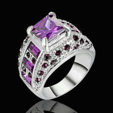 5.80/ct Purple Amethyst Gems Wedding Ring Women's Silver Plated Jewelry Size 8