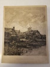 "Antique ""Hollandisches Dorf"" After Gustav Schoenleber Dutch Village Engraving"