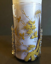 ANTIQUE MOSER ART GLASS AMETHYST JUICE GLASS, GOLD DECORATION, CLEAR RIGAREE