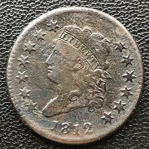 1812 Large Cent Classic Head One Cent 1c VF Details #6597