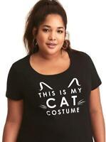 2X 18/20 New Black Cat Halloween Costume Cosplay Funny Punk Kitty Torrid T Shirt
