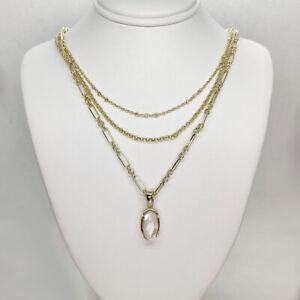 New Kendra Scott Elisa Triple Strand Pendant Necklace In Ivory Shell / Gold
