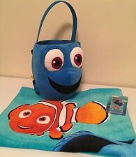 Nwt Finding Dory, Nemo Disney Jumbo Plush Basket & Beach Bath Towel-2 Items