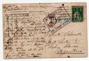 1917 PORTUGAL TO ARGENTINA TAXED COVER, ESPERANTO, GREAT CANCELS !!