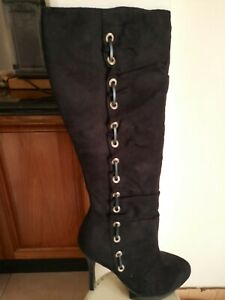 Black Faux Suede Stiletto Boots by Wild Rose  size 9