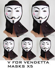 V FOR VENDETTA with Hood PVC Mask PACK of 5  Fancy Dress Halloween Costume Part