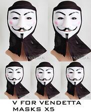 Máscara de Halloween de V de Vendetta máscara de PVC con Capucha Paquete de 5