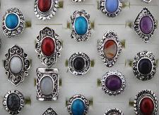 Fashion Mixed Lots 30pcs Natural stone&Alloy lady Rings party gift Free shipping