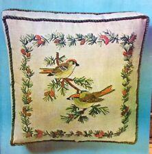 """ERICA WILSON Linen 12"""" Square Pillow BIRDS & PINE CONES CREWEL KIT"""
