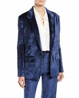 RAG & BONE Womens Size 2 Monty Velvet Blazer Denim Blue W285429NI $650 NWT