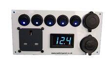 Ford Transit 12V/240V White Switch Panel Voltmeter USB Cigarette Socket
