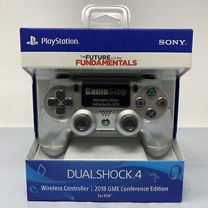 2018 PS4 Playstation Dualshock Controller Silver GameStop Conference Edition