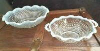 """Hobnail opalescent Moonstone 2 Glass bowls scallop edges 9"""" & 7"""" candy & snack"""
