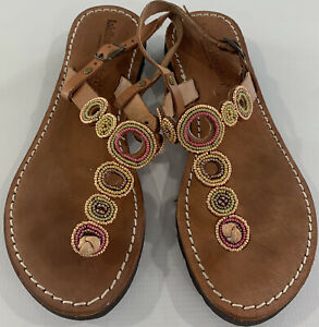 Laid Back London Anthropologie Leather Handmade Beaded Sandals Womens 39 US 9