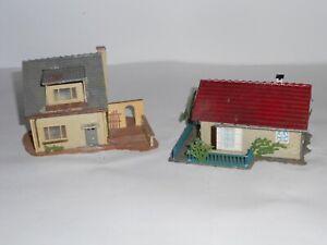 Faller small suburban houses. HO Scale. Pre assembled kit. No box