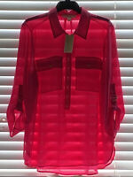 Michael Kors Zipper Front Electric Pink Blouse Size XL 100% Polyester Material
