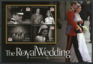 Guyana Royalty Stamps 2011 MNH Royal Wedding Prince William & Kate 4v M/S II