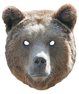 Bear Animal 2D Single Card Party Mask - World Book Day Wildlife Grizzly