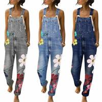 Womens Denim Jeans Dungarees Ladies Flower Jumpsuit Bib Pants Trousers Overalls