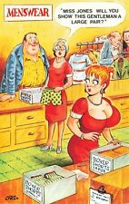 Bamforth Comic Postcard: Big Boobs & Menswear Shop Assistant Theme