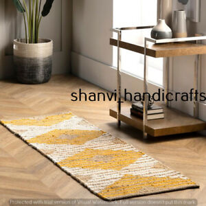 Bohemian Braided Jute & Cotton Handmade Runner Handwoven Home Decor Floor Carpet