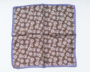 "Isaia NWT Brown Purple Floral Print 100% Silk Pocket Square 13"" 33 cm"